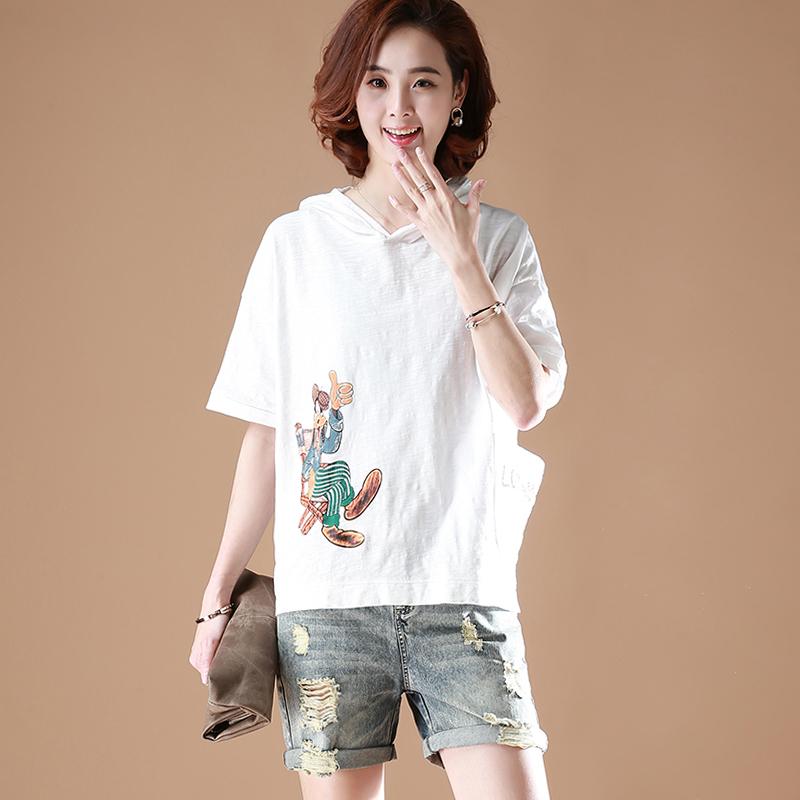 涧蓝原创大码韩版连帽印花短袖T恤女装夏季新品宽松T恤上衣TX2012