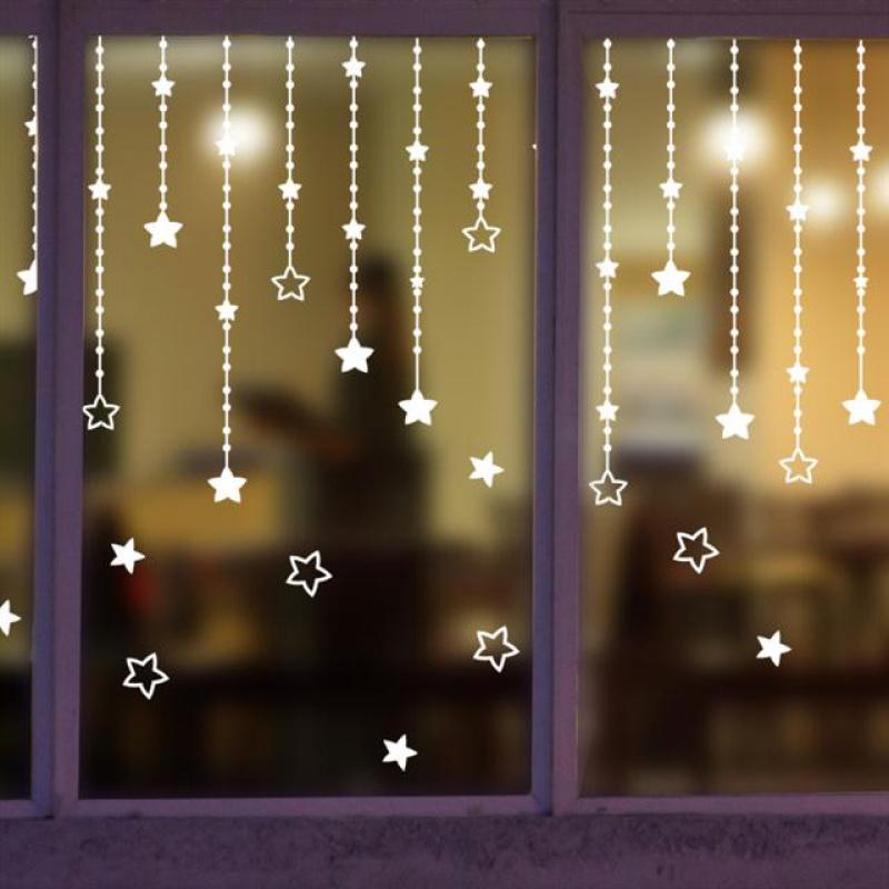 窗帘珠帘卧室宿舍窗户商店店铺装饰品橱窗贴花纸玻璃门墙贴纸窗花