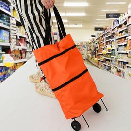 牛津布两用可折叠拖轮包带轮子便携环保购物袋买菜车旅行袋子