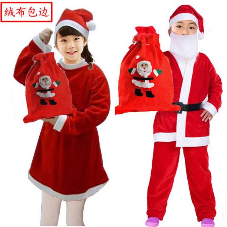 圣诞节圣诞老人服装男童女童金丝绒衣服饰装扮套装幼儿园儿童好节