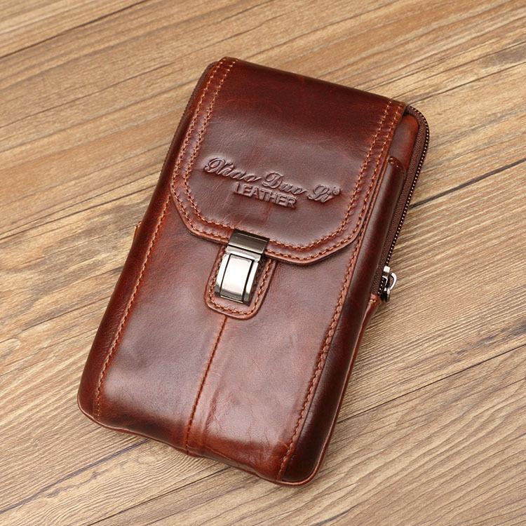 手机包男腰包穿皮带真皮挂包男士多功能牛皮大屏手机袋纯牛皮
