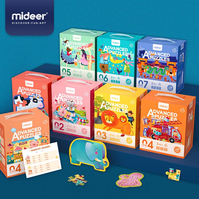 mideer弥鹿儿童大块进阶拼图益智教育玩具100片2宝宝3男孩女孩6岁