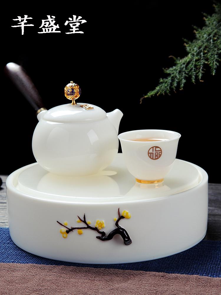 景徳鎮功夫茶器セット陶磁器蓋碗浸急須家庭用簡単な羊脂玉白磁茶皿の小さい湯飲み