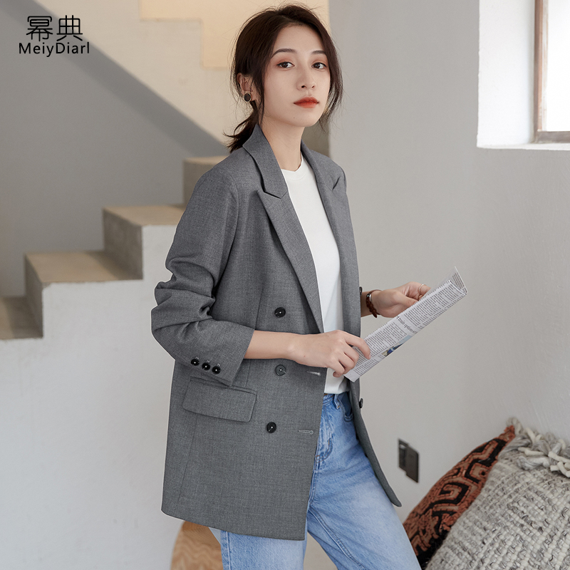 春秋新款宽松休闲时尚气质网红小西服上衣2020灰色西装外套女韩版