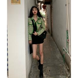 一头阿瓜 绿色格子小香风短外套女港味ins修身西装加厚短款小西服