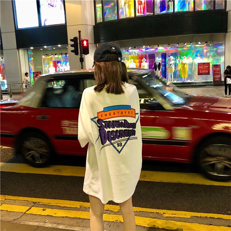 Лето новая коллекция корейская версия Чистый студенческий отвод слово Мать печатала короткий рукав Футболка женская фасон средней длины стиль верх одежда
