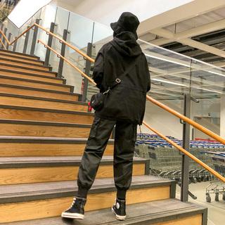 工装裤女宽松bf风休闲日系秋冬2018新款hiphop束脚裤潮牌嘻哈裤子