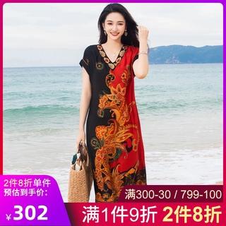杭州大牌真丝连衣裙女2021夏季新款高端气质妈妈印花女士长款裙子