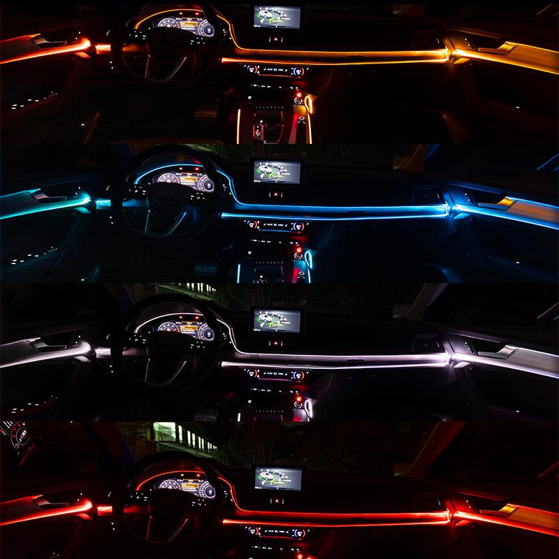 汽车氛围灯冷光线车内气氛声控七彩导光条发光中控内饰改装饰车载,可领取5元天猫优惠券