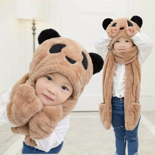 秋冬天儿童围巾帽子手套三件套一体护耳帽围脖加厚男女童学生保暖
