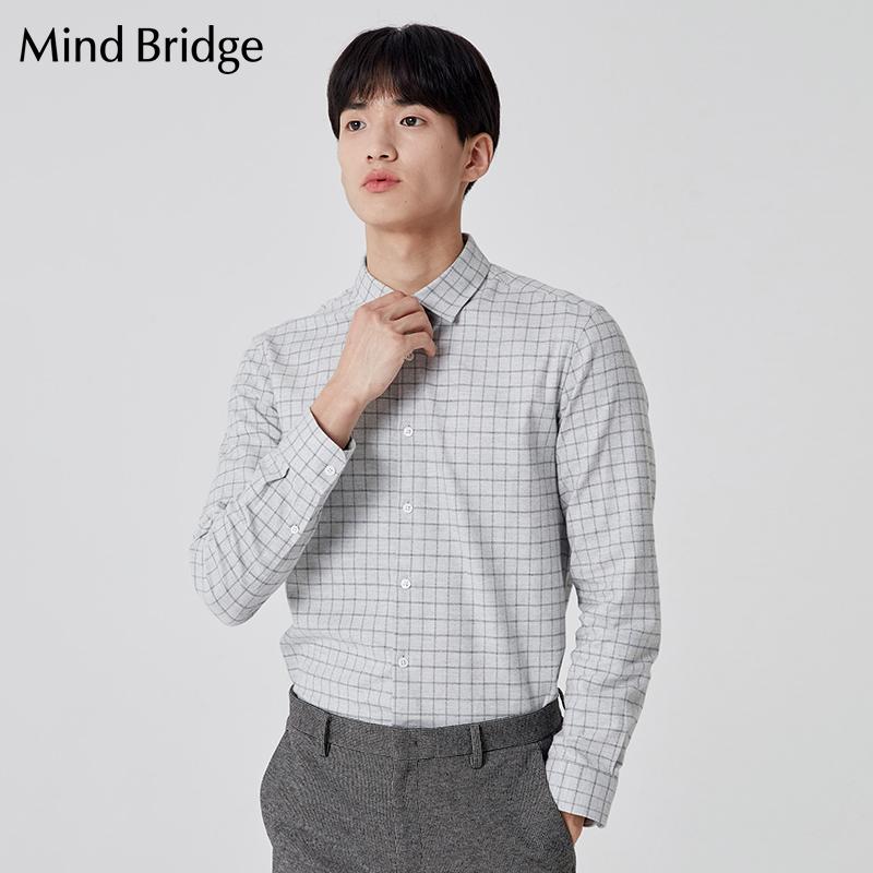 Mind Bridge长袖衬衫上衣百家好男装2019秋冬衬衣格纹 MTWS7101