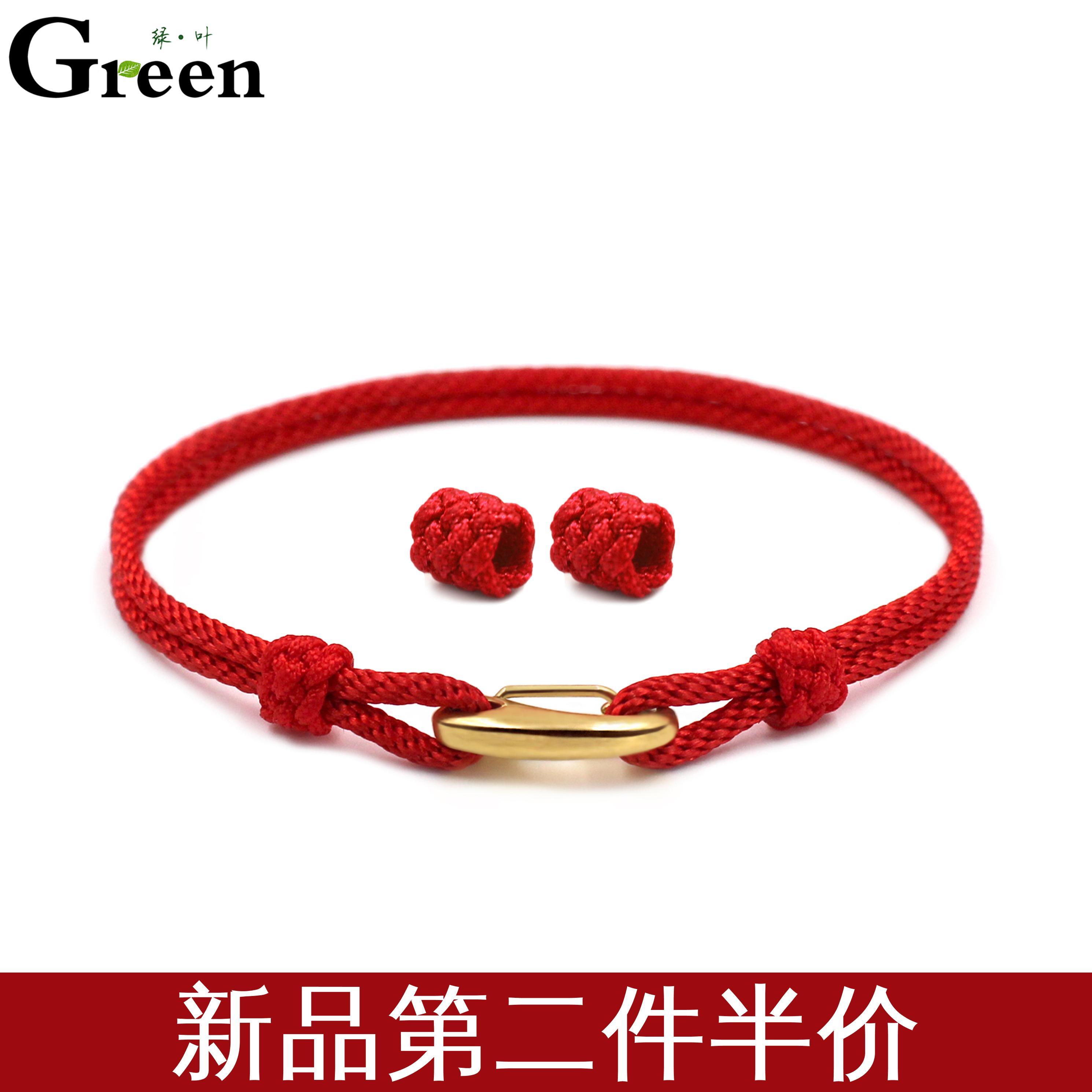 新款手工编织本命年红绳手链可穿3D硬金转运珠男女款情侣串珠手绳图片