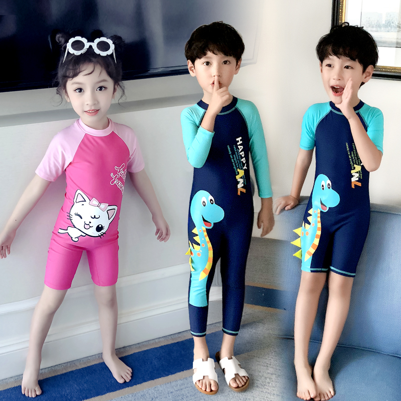 Girls swimsuit 2020 new foreign style childrens one-piece medium and small childrens long short sleeve beach boy swimming