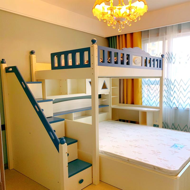 子供のベッドの上で下のベッドの二段ベッドのインターリーブ式の多機能の組み合わせのベッドの母のベッドの転位型の高低のベッドの小さい部屋型