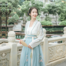 Han Shang Hualien Lanzhi Genuine Han Dresses Women's Dresses with Bottom-to-Bottom Dresses, Large Dresses, Flower Embroidery, Fresh Daily Summer Dresses