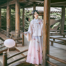 Han Shang Hualian Traditional Han Dress Women's Dress Babao Makeup Embroidery Cross-lapel Skirt Double Layer Gradual Change Skirt Autumn and Winter Daily