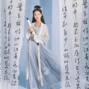 汉尚华莲画中仙正品原创汉服对襟襦裙套装女中国风学生日常春夏款