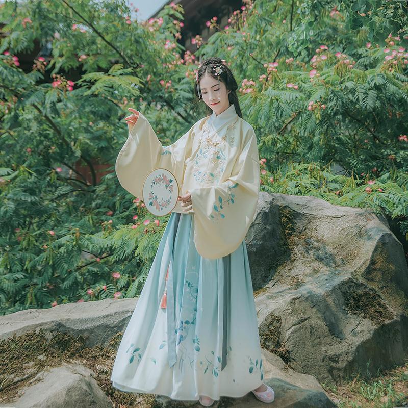 汉尚华莲传统汉服女装花间酒交领袄裙单层绣花上袄印花下裙秋冬