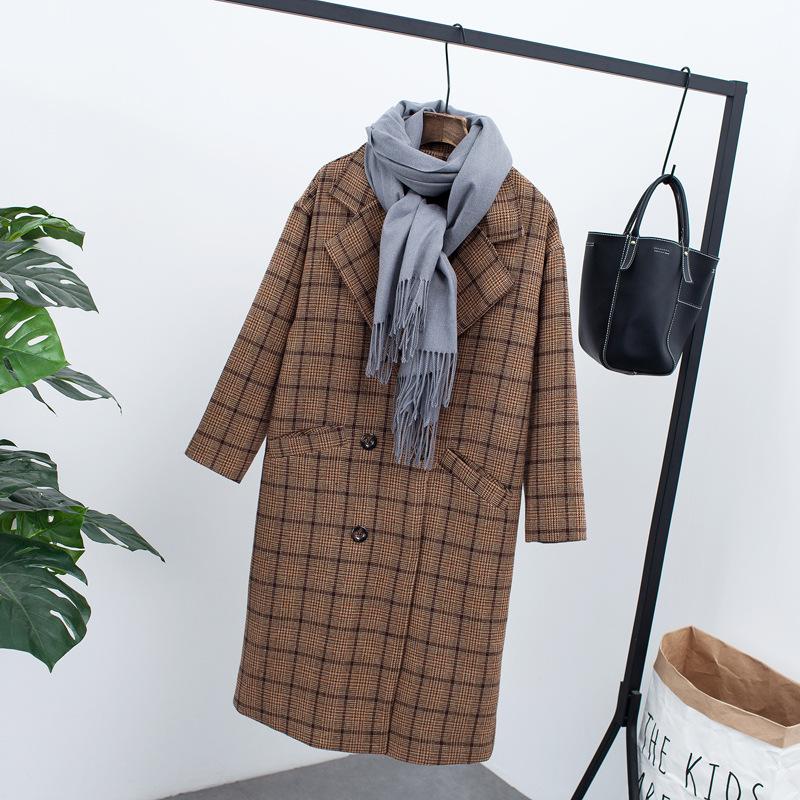 秋冬毛呢外套女韩版加厚中长款格纹呢大衣双排扣修身显瘦x20