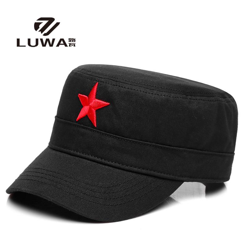 四季全棉春秋季红色五角星中老年人军帽男士复古刺绣军人平顶帽子