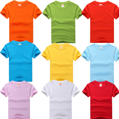 全棉短袖幼儿活动服装六一儿童节彩色文化衫广告衫T恤印字LOGO