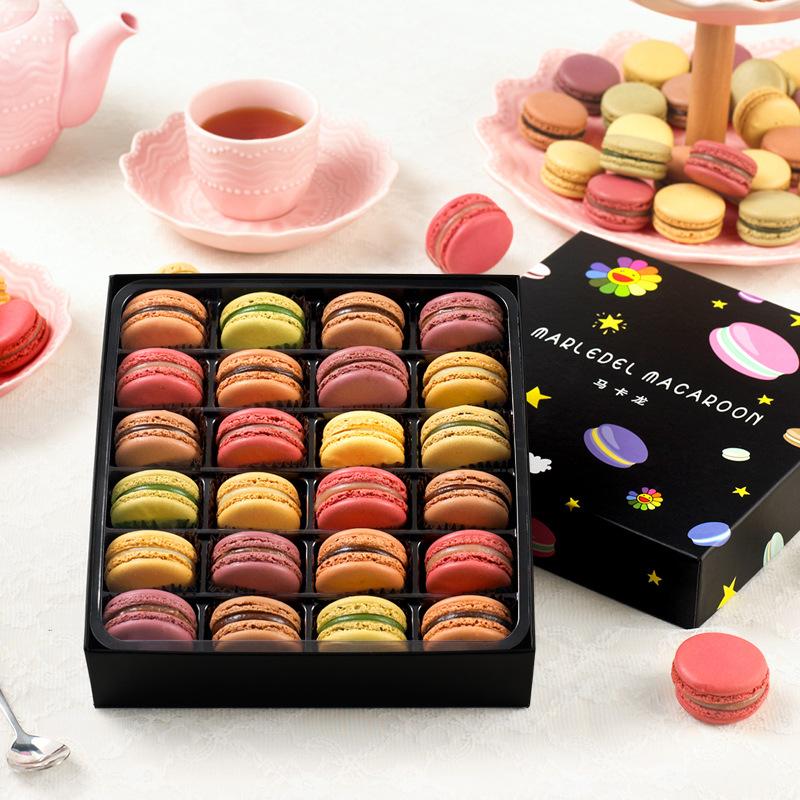 马卡龙甜点西式糕点24枚礼盒早餐面包休闲零食小吃送女友生日礼物