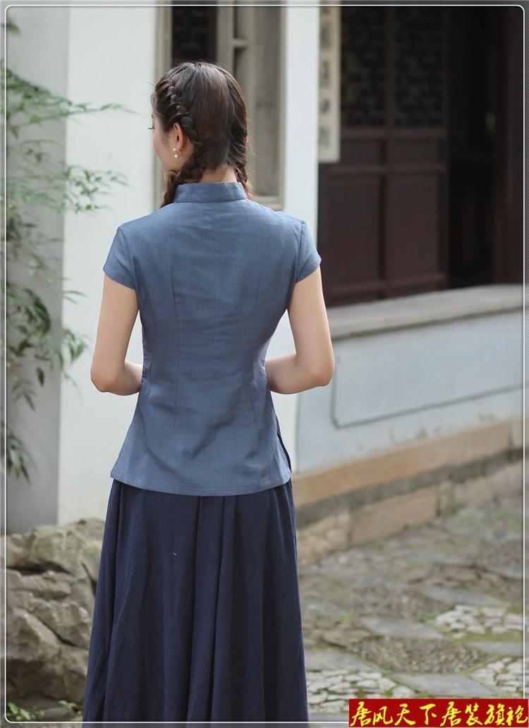 新款中国风复古少女装传统文化中式棉麻短袖唐装舞台汉服春款套装
