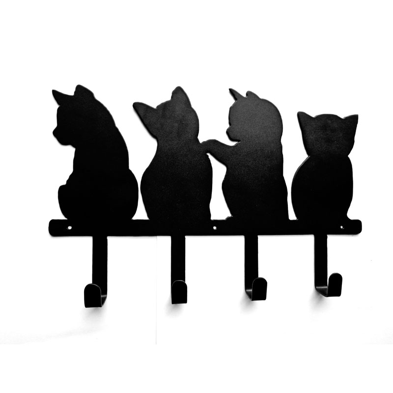Original four kittens cute hook iron clothes hang key hang send nails creative wall hang long row hook single hook