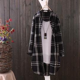 新品新款文艺大格子长袖衬衣女春秋薄外套韩版休闲中长款衬衫上衣