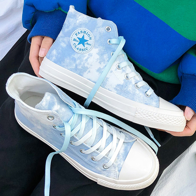 Water wash printed canvas womens shoes high top student Korean casual green tie dye vulcanized lace up versatile board shoes