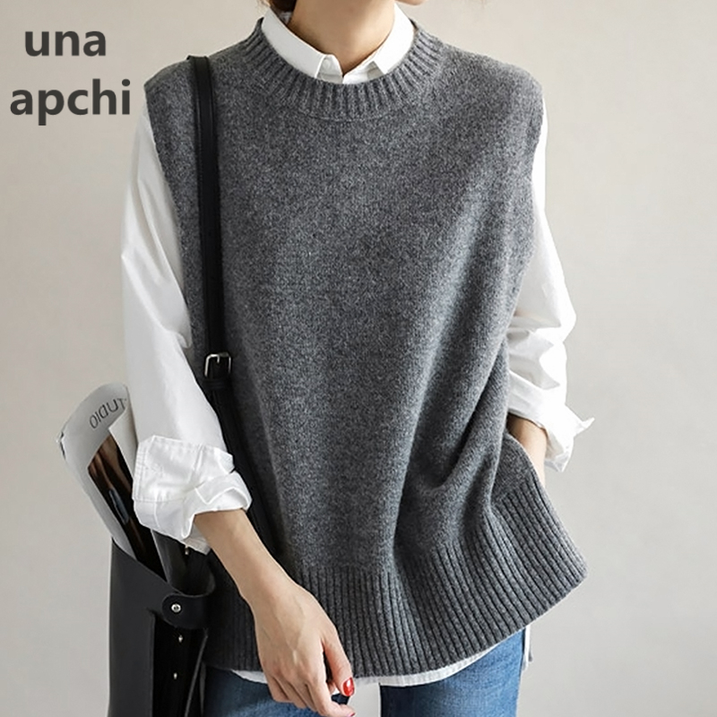 Sweater, vest, vest, vest, women's spring and Autumn New Korean Edition knitting, sleeveless, side slit, round neck and shoulder coat