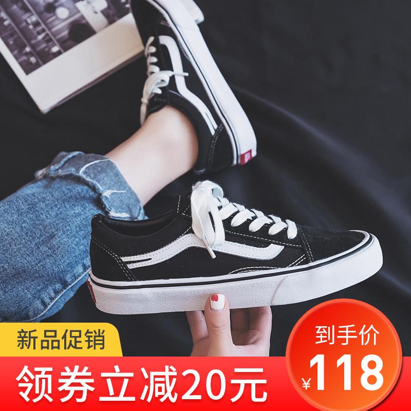 热销3件限时2件3折万斯能官方旗舰官网帆布鞋女2019新款韩版低帮男女经典款sk8板鞋