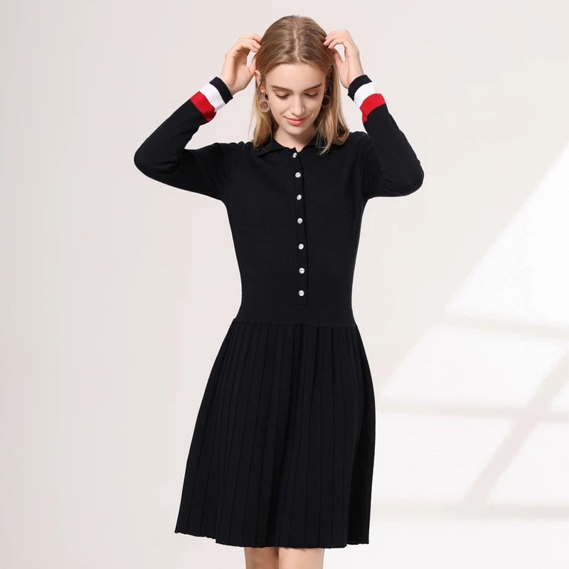 New womens wool polo collar long sleeve pleated knitted dress with deep navy blue and red white color matching