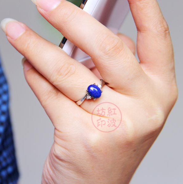 ◥ hongbofang 7 * 9mm pure natural lapis lazuli ring, imported from Afghanistan * womens Ring * 110727_ 075