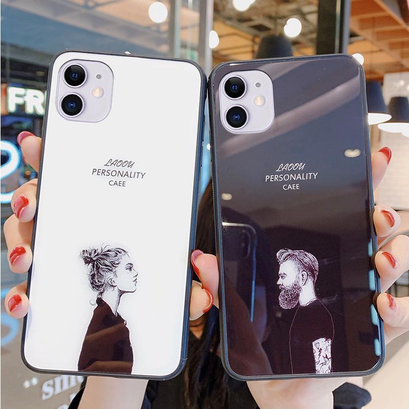 欧美风情侣iPhone11手机壳苹果11pro max保护套xs max钢化玻璃镜面xr全包防摔xs苹果x潮11max个性xmax男女款