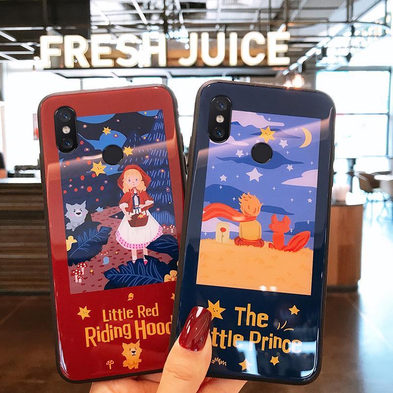 浪漫小公主小王子红米7/note7手机壳note5/5plus玻璃红米6pro/16.50元包邮
