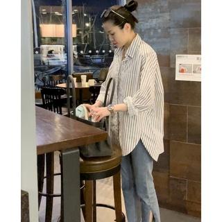 若如初见服装女士竖条纹衬衫休闲时尚显瘦气质百搭舒适简约轻薄