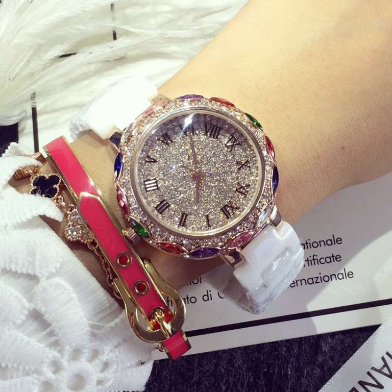 Authentic full diamond lady watch luxurious high-grade Pink Pearl Real ceramic watch waterproof Lady Watch