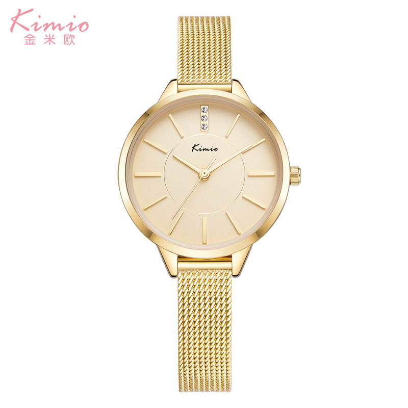 New gold Mio womens watch with diamond in Korean version simple fashion quartz watch waterproof students large dial womens Watch