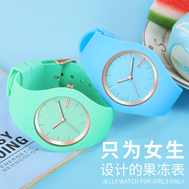 Ins wind net red childrens watch female macarone silica gel test special primary school student pointer electronic watch waterproof