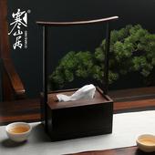 寒山居黑檀实木纸巾盒新中式茶桌摆件创意纸巾收纳盒家居装饰配件