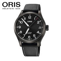 ORIS豪利时航空系列镀黑盘黑皮带男士自动机械腕表