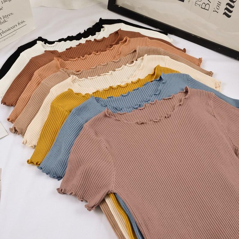 针织短袖修身橙色夏季纯色短款t恤限9000张券