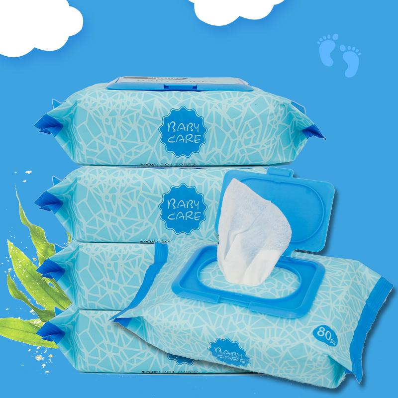 舒舒乐深海藻柔湿巾婴儿手口柔湿巾带 80抽*5包bb宝宝儿童湿纸巾