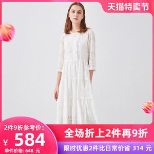 白色蕾丝2021夏季新款超仙连衣裙