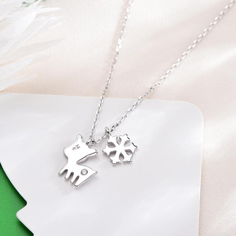 绘柔S925纯银项链韩版麋鹿圣诞款铃铛吊坠心形滴胶锁骨链女