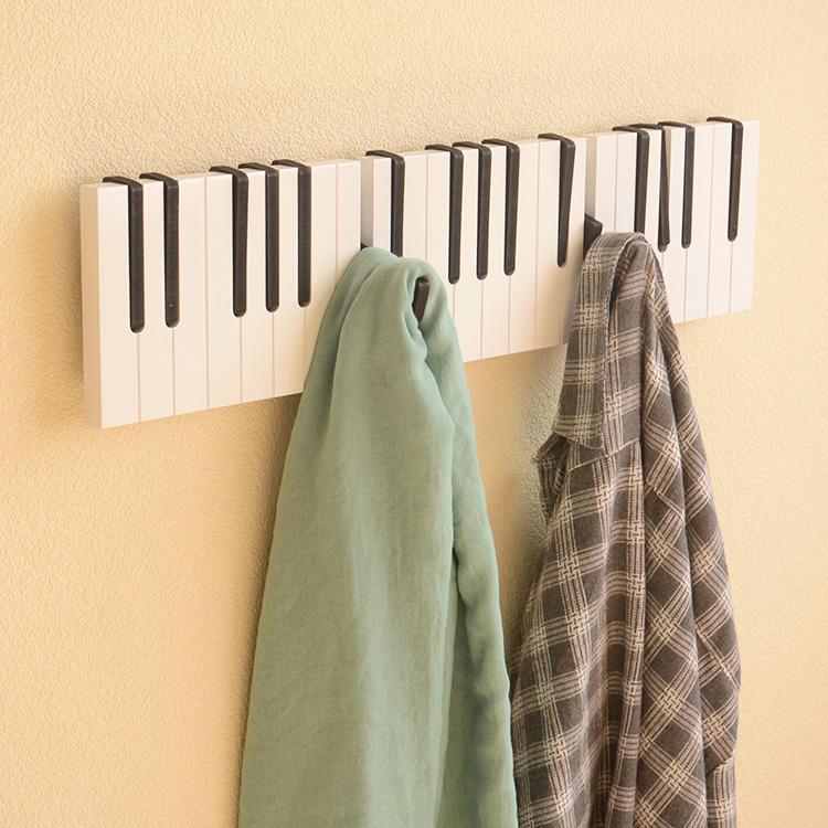 北欧玄关钢琴键盘幼儿园墙上衣帽架