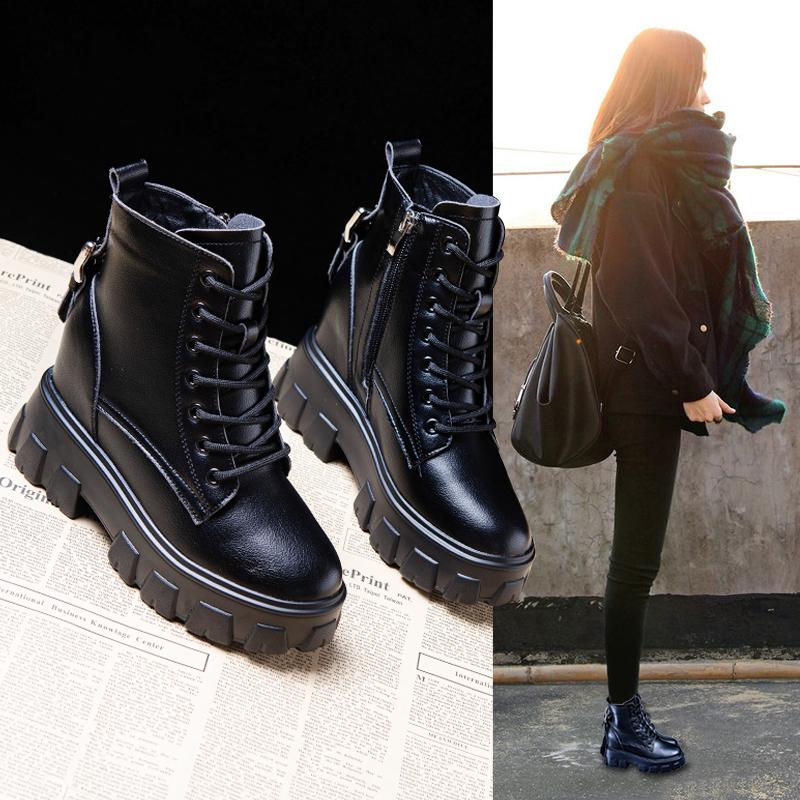 黑色马丁靴女冬季加绒2020新款英伦厚底百搭内增高短靴女春秋单靴
