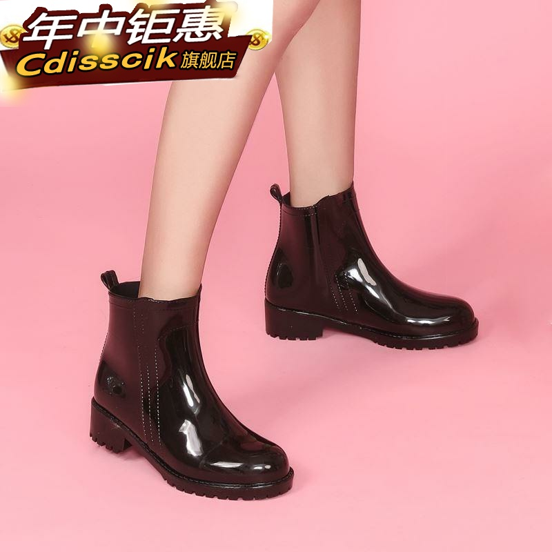 Rain shoes womens fashion wear rain boots long tube high-heeled water shoes short tube middle-aged plastic short antiskid rubber overshoes