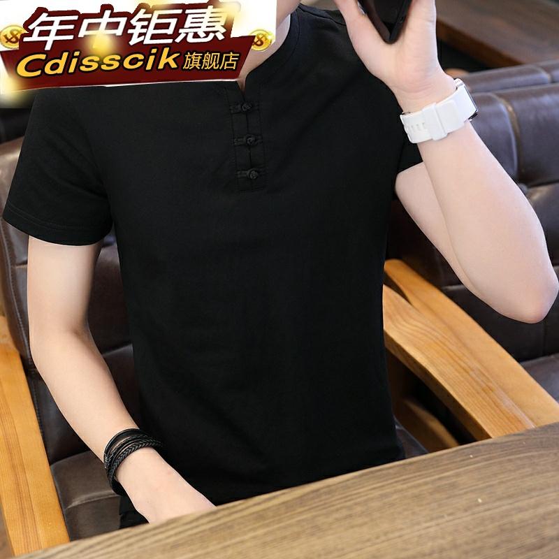 亚麻衣服短袖夏季休闲居士t恤中国风短袖禅意棉麻复古风佛系男装